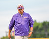Cortland Crush Pitching Coach Daniel Payne (44) returning to the dugout after a trip to the mound against the Syracuse Salt Cats at OCC Turf Field in Syracuse, New York on Wednesday, June 15, 2016. Cortland won 5-2.