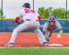 Cortland Crush Broderick Santilli (3) leaps back to First Base against the Syracuse Salt Cats at OCC Turf Field in Syracuse, New York on Wednesday, June 15, 2016. Cortland won 5-2.