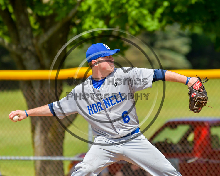 Hornell Dodgers Connor Ryan (6) on the mound against the  Cortland Crush on Greg's Field at Beaudry Park in Cortland, New York on Saturday, June 18, 2016. Hornell won 11-3.