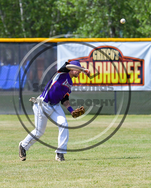 Cortland Crush Luke Gilbert (5) throwing the ball against the Hornell Dodgers on Greg's Field at Beaudry Park in Cortland, New York on Saturday, June 18, 2016. Hornell won 11-3.