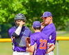 Cortland Crush Pitching Coach Daniel Payne (44) talking with Pitcher Andrew Cartier (23) during a time out against the Hornell Dodgers on Greg's Field at Beaudry Park in Cortland, New York on Saturday, June 18, 2016. Hornell won 11-3.
