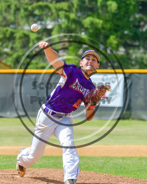 Cortland Crush Andrew Cartier (23) pitching against the Hornell Dodgers on Greg's Field at Beaudry Park in Cortland, New York on Saturday, June 18, 2016. Hornell won 11-3.