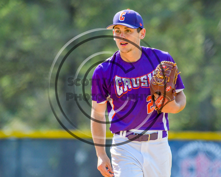 Cortland Crush Andrew Cartier (23) on the mound against the Hornell Dodgers on Greg's Field at Beaudry Park in Cortland, New York on Saturday, June 18, 2016. Hornell won 11-3.