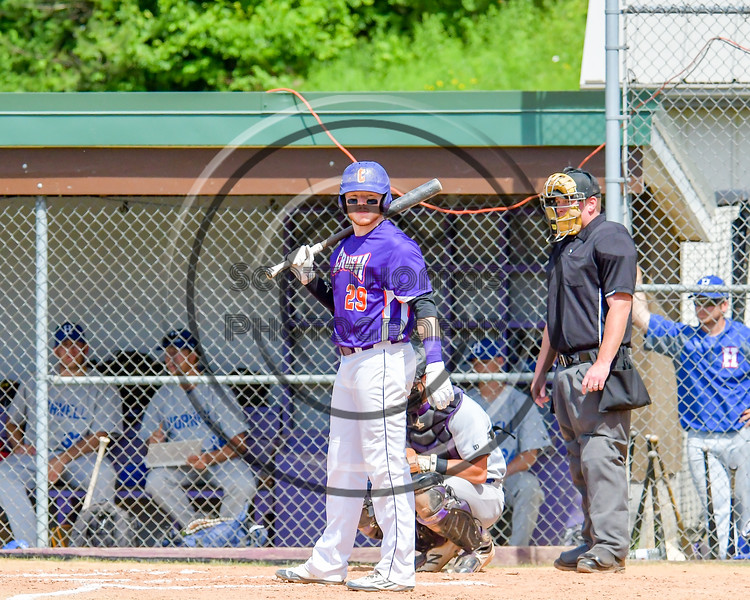 Cortland Crush Derek Martin (29) getting signs from the Third Base Coach John Buczek (9) before an at bat against the Hornell Dodgers on Greg's Field at Beaudry Park in Cortland, New York on Saturday, June 18, 2016. Hornell won 11-3.