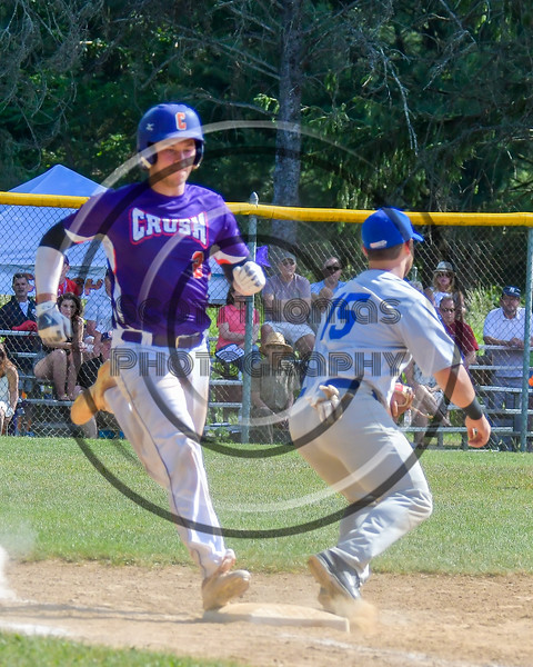 Cortland Crush beats the throw to First Base against the Hornell Dodgers on Greg's Field at Beaudry Park in Cortland, New York on Saturday, June 18, 2016. Hornell won 11-3.