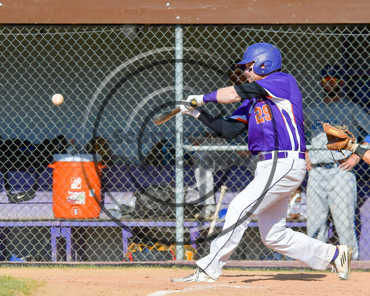 Cortland Crush Derek Martin (29) connects with the ball against the Hornell Dodgers on Greg's Field at Beaudry Park in Cortland, New York on Saturday, June 18, 2016. Hornell won 11-3.