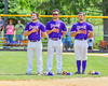 Cortland Crush players Greg Mula (1), David Murphy (8) and Paul Ludden (10) during the National Anthem before playing the Hornell Dodgers on Greg's Field at Beaudry Park in Cortland, New York on Saturday, June 18, 2016.