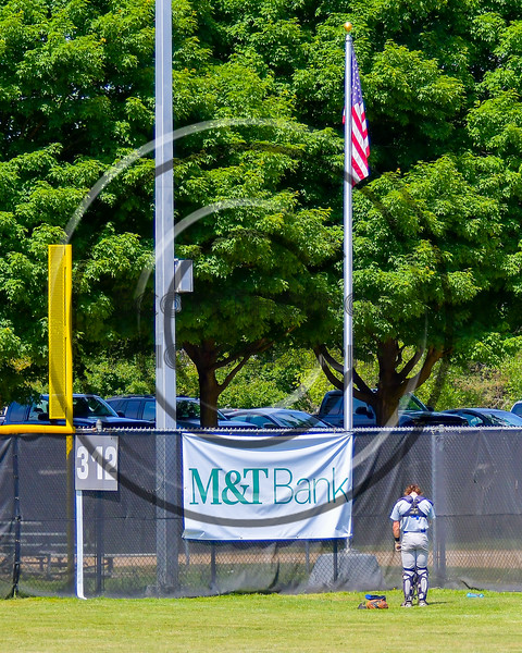 Hornell Dodgers Tyler Burns (4) during the National Anthem before playing the  Cortland Crush on Greg's Field at Beaudry Park in Cortland, New York on Saturday, June 18, 2016.