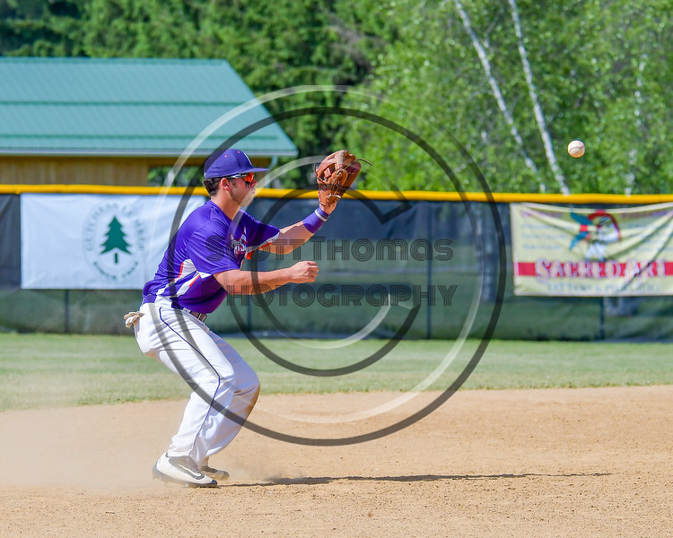 Cortland Crush David Murphy (8) about to catch the ball for an out against the Hornell Dodgers on Greg's Field at Beaudry Park in Cortland, New York on Saturday, June 18, 2016. Hornell won 11-3.