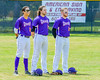 Cortland Crush players Anthony Searles (2), Luke Gilbert (5) and Derek Martin (29) during the National Anthem before playing the Hornell Dodgers on Greg's Field at Beaudry Park in Cortland, New York on Saturday, June 18, 2016.