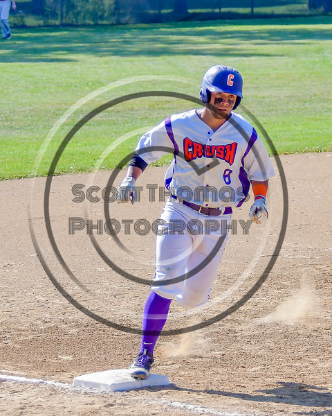 Cortland Crush David Murphy (8) trots around Thrid Base after hitting a home run against the Syracuse Junior Chiefs on Greg's Field at Beaudry Park in Cortland, New York on Sunday, June 19, 2016. Cortland won 6-5.