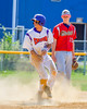Cortland Crush Josua Lopez (21) steals Second Base uncontested against the Syracuse Junior Chiefs on Greg's Field at Beaudry Park in Cortland, New York on Sunday, June 19, 2016. Cortland won 6-5.