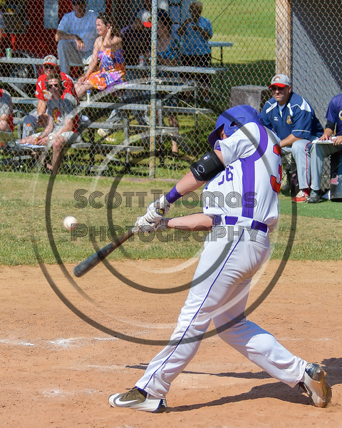 Cortland Crush Ethan Moore (36) hits the ball against the Syracuse Junior Chiefs on Greg's Field at Beaudry Park in Cortland, New York on Sunday, June 19, 2016. Cortland won 6-5.