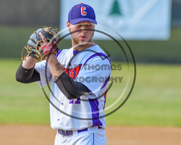 Cortland Crush Matthew McCuen (27) on the mound against the Syracuse Junior Chiefs on Greg's Field at Beaudry Park in Cortland, New York on Sunday, June 19, 2016. Cortland won 6-5.