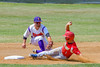 Cortland Crush David Murphy (8) tags Syracuse Junior Chiefs John Militano (1) out at Second Base on Greg's Field at Beaudry Park in Cortland, New York on Sunday, June 19, 2016. Cortland won 6-5.