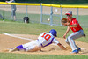 Cortland Crush Paul Ludden (10) beats the throw to First Base against the Syracuse Junior Chiefs on Greg's Field at Beaudry Park in Cortland, New York on Sunday, June 19, 2016. Cortland won 6-5.