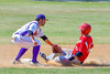 Cortland Crush David Murphy (8) tags out Syracuse Junior Chiefs Joe DeLuca (25) at Second Base on Greg's Field at Beaudry Park in Cortland, New York on Sunday, June 19, 2016. Cortland won 6-5.
