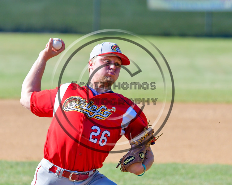 Syracuse Junior Chiefs Derrick Jackson (26) pitching against the  Cortland Crush on Greg's Field at Beaudry Park in Cortland, New York on Sunday, June 19, 2016. Cortland won 6-5.