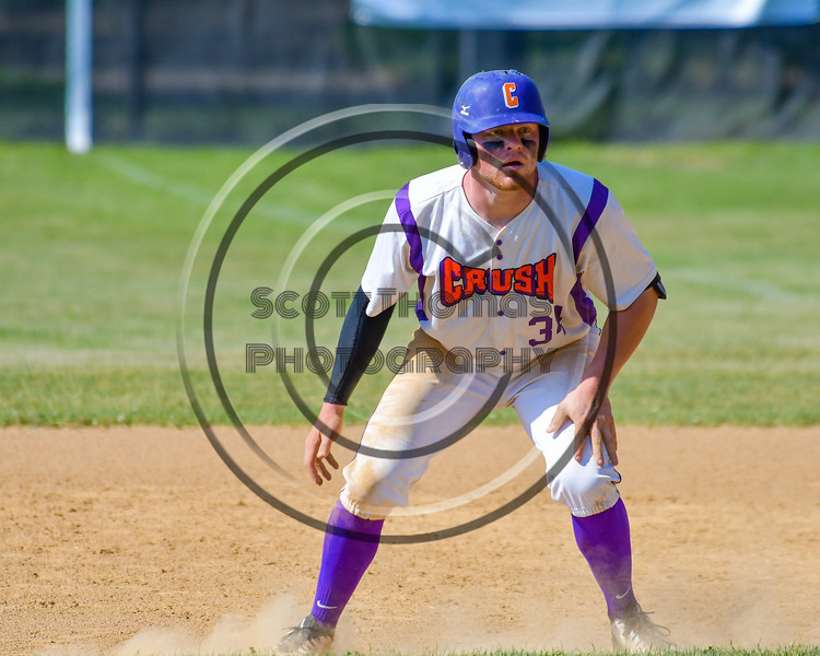 Cortland Crush George Haaland (34) on base against the Syracuse Junior Chiefs on Greg's Field at Beaudry Park in Cortland, New York on Sunday, June 19, 2016. Cortland won 6-5.