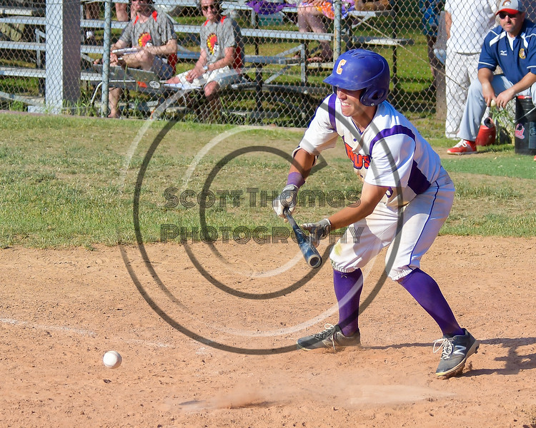 Cortland Crush Joey Assenza (4) bunts the ball against the Syracuse Junior Chiefs on Greg's Field at Beaudry Park in Cortland, New York on Sunday, June 19, 2016. Cortland won 6-5.