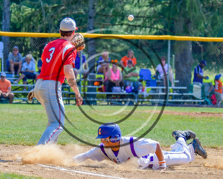 Cortland Crush Josua Lopez (21) gets back to First Base before the ball against the Syracuse Junior Chiefs on Greg's Field at Beaudry Park in Cortland, New York on Sunday, June 19, 2016. Cortland won 6-5.