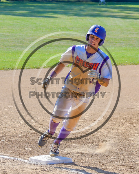 Cortland Crush Broderick Santilli (3) running the bases against the Syracuse Junior Chiefs on Greg's Field at Beaudry Park in Cortland, New York on Sunday, June 19, 2016. Cortland won 6-5.