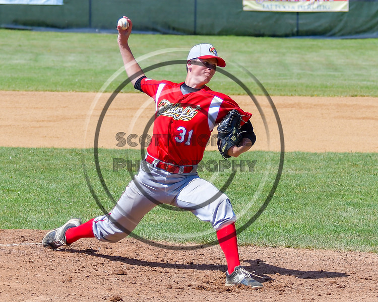 Syracuse Junior Chiefs Jimmy Skiff (31) pitching against the  Cortland Crush on Greg's Field at Beaudry Park in Cortland, New York on Sunday, June 19, 2016. Cortland won 6-5.