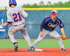Syracuse Junior Chiefs John Militano (1) tries to get  Cortland Crush Josua Lopez (21) out at Second Base at OCC Turf Field in Syracuse, New York on Wednesday, June 22, 2016. Cortland won 6-2.