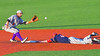 The throw to Cortland Crush David Murphy (8) is late as Syracuse Junior Chiefs Nicholas Roy (4) is safe on Second Base at OCC Turf Field in Syracuse, New York on Wednesday, June 22, 2016. Cortland won 6-2.