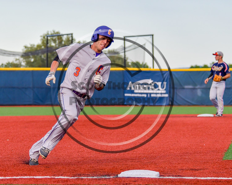 Cortland Crush Broderick Santilli (3) running the bases against the Syracuse Junior Chiefs at OCC Turf Field in Syracuse, New York on Wednesday, June 22, 2016. Cortland won 6-2.