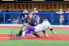 Syracuse Junior Chiefs Catcher Matthew Kleinstein (18) tags  Cortland Crush David Murphy (8) out at Home Plate at OCC Turf Field in Syracuse, New York on Wednesday, June 22, 2016. Cortland won 6-2.