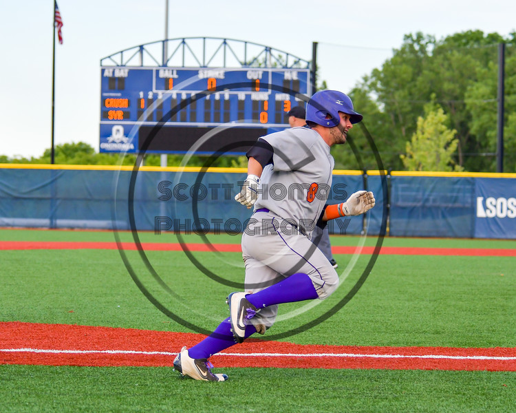 Cortland Crush David Murphy (8) runing to Home Base to score against the Syracuse Junior Chiefs at OCC Turf Field in Syracuse, New York on Wednesday, June 22, 2016. Cortland won 6-2.