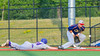 Cortland Crush George Haaland (34) beats the throw back to First Base as Syracuse Junior Chiefs Joe DeLuca (25) protects the bag at OCC Turf Field in Syracuse, New York on Wednesday, June 22, 2016. Cortland won 6-2.