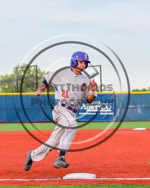 Cortland Crush Josua Lopez (21) rounding Thrid Base and heading for Home against the Syracuse Junior Chiefs at OCC Turf Field in Syracuse, New York on Wednesday, June 22, 2016. Cortland won 6-2.