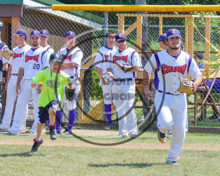 Cortland Crush Greg Mula (1) being introduced before playing the Sherrill Silversmiths on Greg's Field at Beaudry Park in Cortland, New York on Sunday, June 26, 2016.