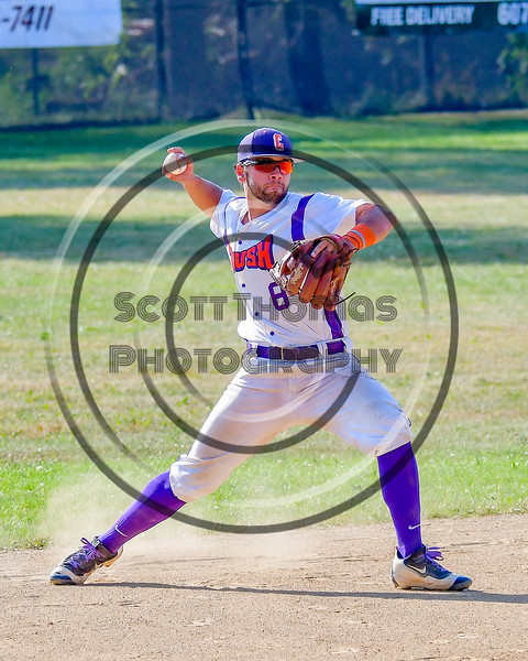 Cortland Crush David Murphy (8) about to throw the ball against the Sherrill Silversmiths on Greg's Field at Beaudry Park in Cortland, New York on Sunday, June 26, 2016. Cortland won 6-4.