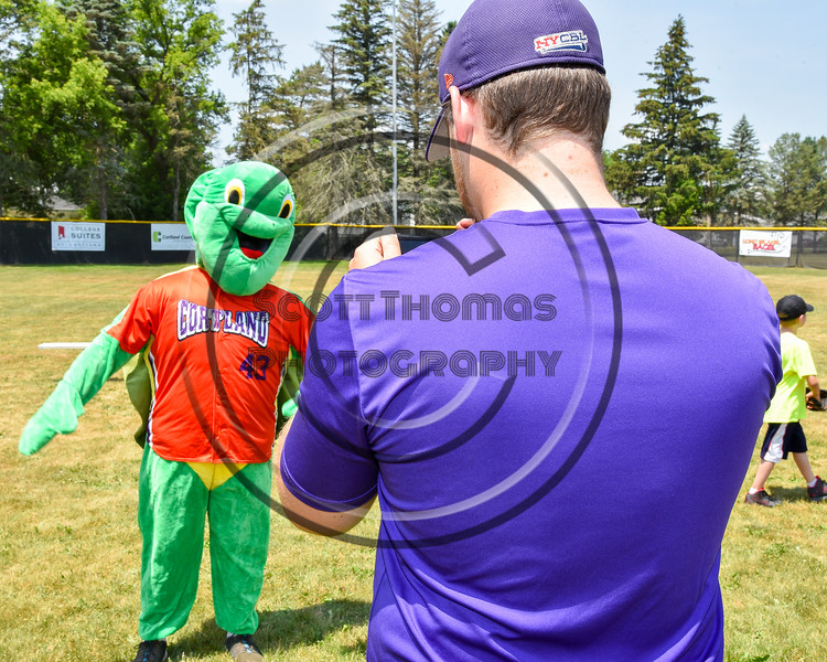 Cortland Crush mascot, Homer the Turtle on Greg's Field at Beaudry Park in Cortland, New York on Sunday, June 26, 2016.
