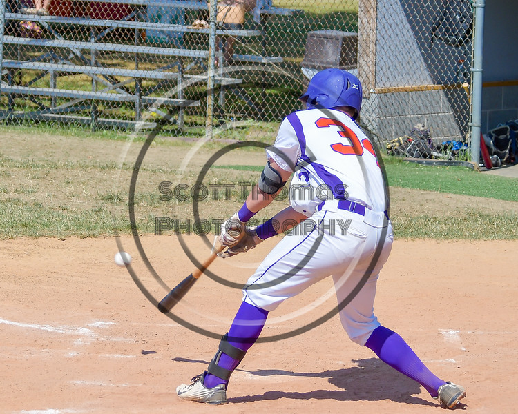 Cortland Crush George Haaland (34) digs out a hit against the Sherrill Silversmiths on Greg's Field at Beaudry Park in Cortland, New York on Sunday, June 26, 2016. Cortland won 6-4.