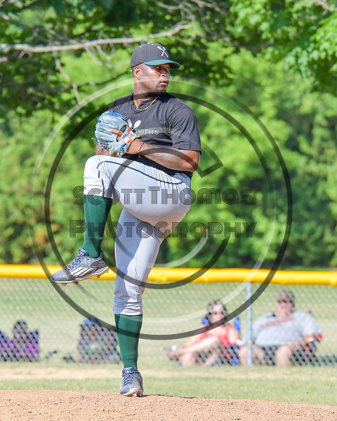Sherrill Silversmiths Junior Bautista (24) pitching against the  Cortland Crush on Greg's Field at Beaudry Park in Cortland, New York on Sunday, June 26, 2016. Cortland won 6-4.