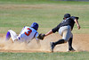 Cortland Crush Broderick Santilli (3) beats the tag by Sherrill Silversmiths Michael Palos (27) to steal Second Base on Greg's Field at Beaudry Park in Cortland, New York on Sunday, June 26, 2016. Cortland won 6-4.
