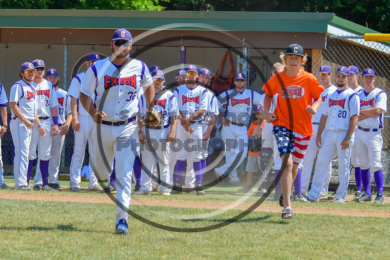 Cortland Crush Andrew Taft (32) being introduced before playing the Sherrill Silversmiths on Greg's Field at Beaudry Park in Cortland, New York on Sunday, June 26, 2016.