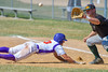 Cortland Crush Broderick Santilli (3) slides back to First Base against the Sherrill Silversmiths on Greg's Field at Beaudry Park in Cortland, New York on Sunday, June 26, 2016. Cortland won 6-4.