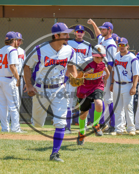 Cortland Crush Paul Ludden (10) being introduced before playing the Sherrill Silversmiths on Greg's Field at Beaudry Park in Cortland, New York on Sunday, June 26, 2016.