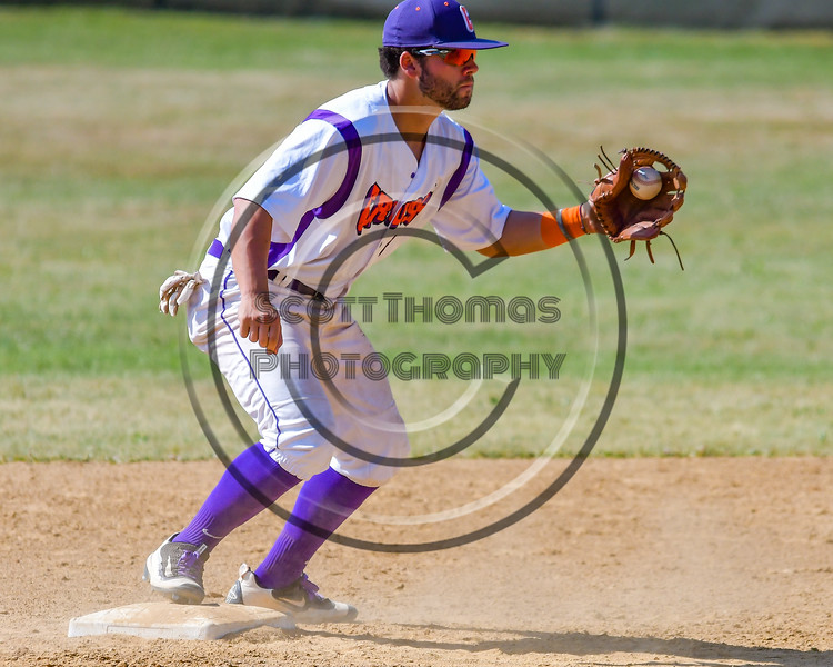 Cortland Crush David Murphy (8) traps the ball at Second Base against the Sherrill Silversmiths on Greg's Field at Beaudry Park in Cortland, New York on Sunday, June 26, 2016. Cortland won 6-4.