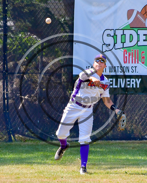 Cortland Crush Joey Assenza (4) throwing the ball to the infield against the Sherrill Silversmiths on Greg's Field at Beaudry Park in Cortland, New York on Sunday, June 26, 2016. Cortland won 6-4.