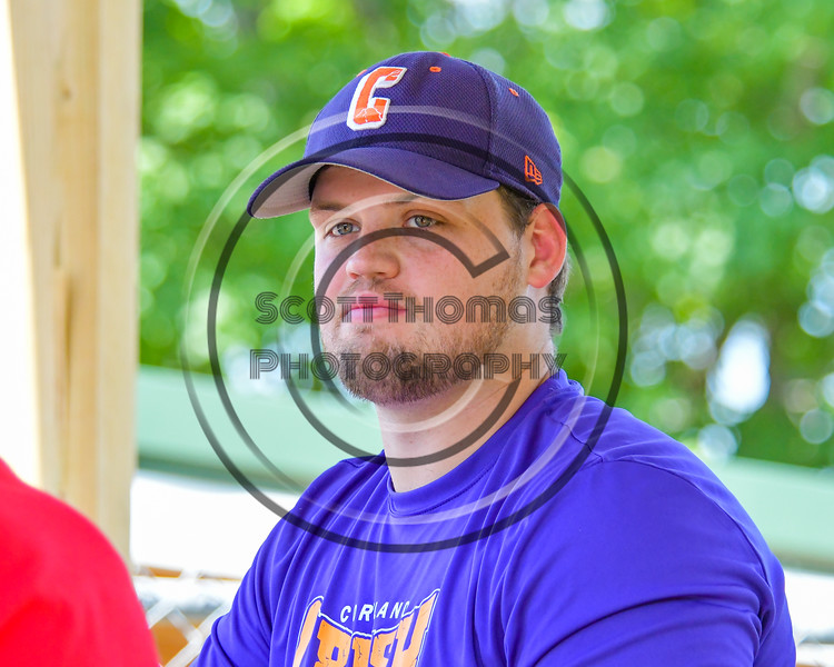 Cortland Crush Director of Media and Game Day Operations Samuel Bloomquist on Greg's Field at Beaudry Park in Cortland, New York on Sunday, June 26, 2016.