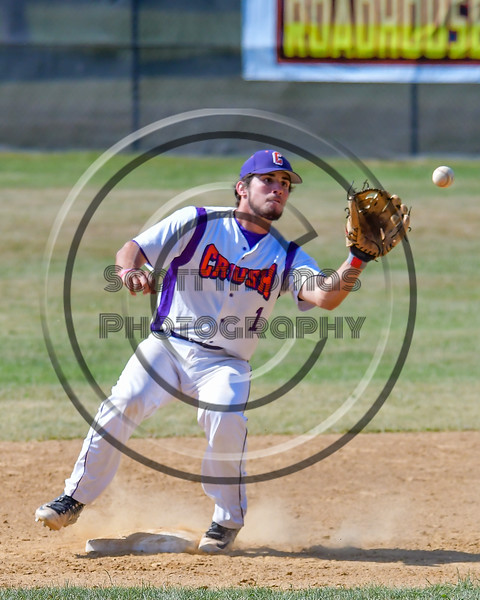 Cortland Crush Greg Mula (1) catching the ball at Second Base against the Sherrill Silversmiths on Greg's Field at Beaudry Park in Cortland, New York on Sunday, June 26, 2016. Cortland won 6-4.