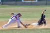 Cortland Crush Greg Mula (1) tags Sherrill Silversmiths Michael Palos (27) out at Second Base on Greg's Field at Beaudry Park in Cortland, New York on Sunday, June 26, 2016. Cortland won 6-4.