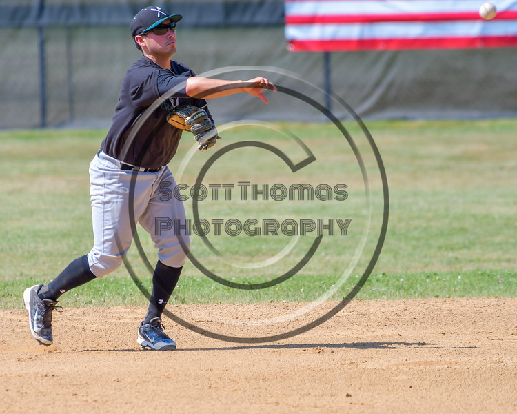 Sherrill Silversmiths Michael Palos (27) throws the ball to First Base for an out against the  Cortland Crush on Greg's Field at Beaudry Park in Cortland, New York on Sunday, June 26, 2016. Cortland won 6-4.