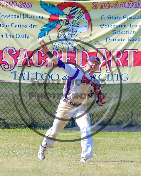 Cortland Crush Derek Martin (29) throwing the ball for the outfield aginst the Sherrill Silversmiths on Greg's Field at Beaudry Park in Cortland, New York on Sunday, June 26, 2016. Cortland won 6-4.